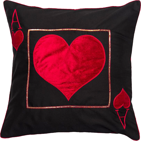 Ace Of Heart (Black) Cushion Cover