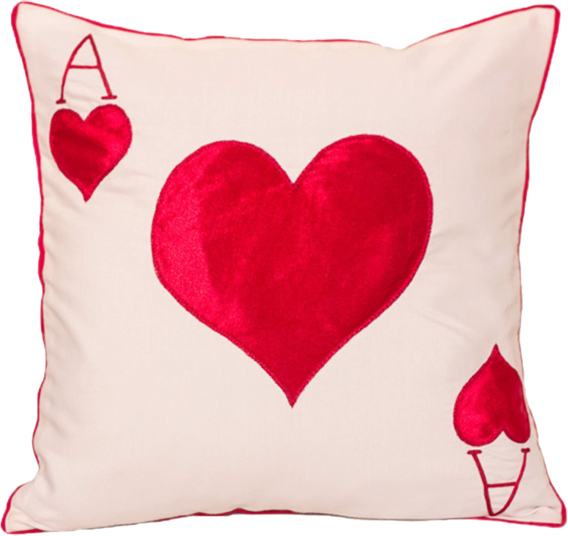 Ace Of Heart  White Cushion Cover