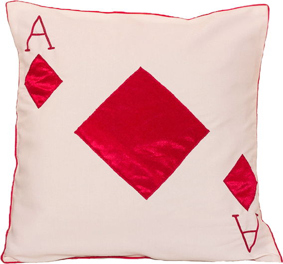 Ace Of Diamonds (White) Cushion Cover