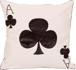 Ace Of Club (White) Cushion Cover