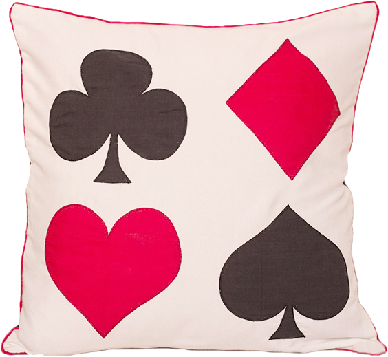 All Four Card Symbols (White) Cushion Cover