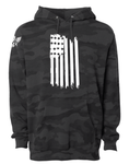 Flag Front Hanging Black Camo Hoodie