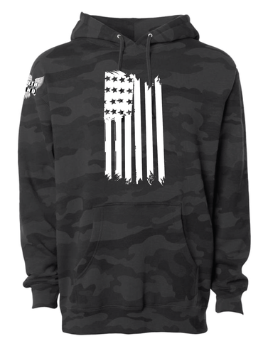 Flag Front Hanging Black Camo Hoodie - Patty Mayo