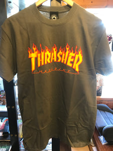 Thrasher Flame Logo Charcoal Tee