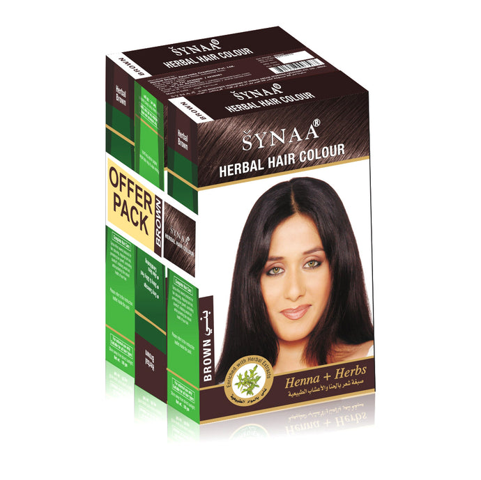Synaa Herbal Hair Color Brown - Pack of 3