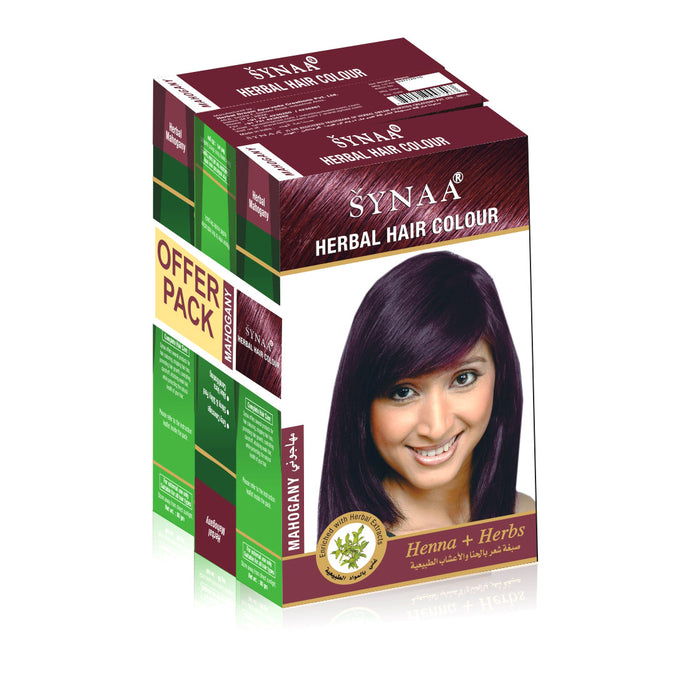 Synaa Herbal Hair Color Mahogany - Pack of 3