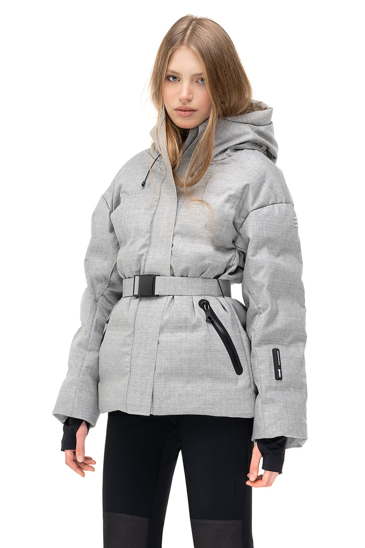Belted ienki ienki skiing jacket with goose down