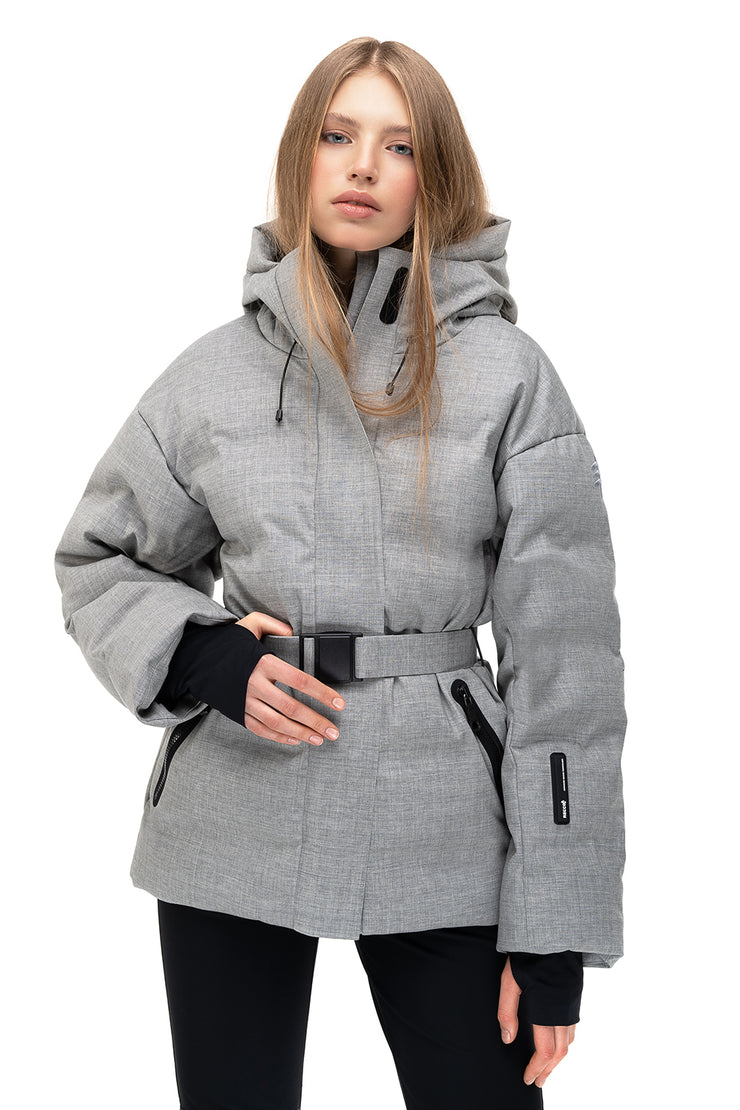 ienki ienki skiing jacket with belt sheena grey