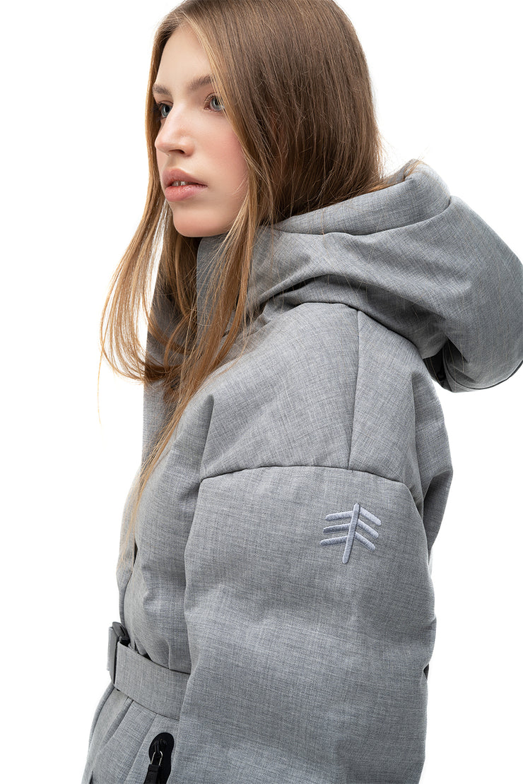 lenki lenki skiing hooded puffer in grey