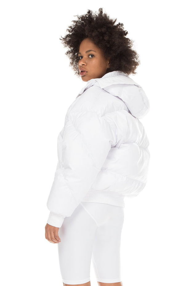 Ienki Dunlope White Hooded Jacket