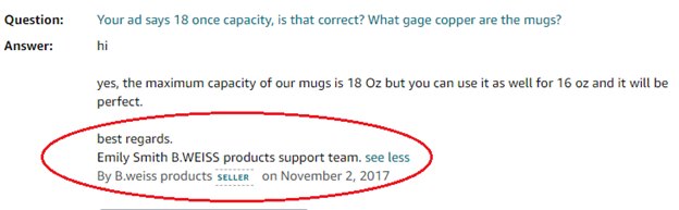 Communicate with the Copper Mug Seller