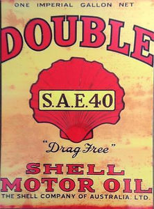SHELL DRAG FREE  oil can    Metal  Sign  30  x 40 cm FREE POSTAGE - TinSignFactoryAustralia