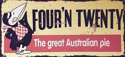 Four And Twenty Pies  Metal  Sign  80 x 38  cm Quality  Sublimated Free Postage - TinSignFactoryAustralia