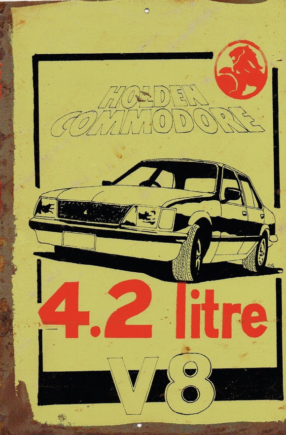 Holden Commodore 4.2 litre Metal  Sign  20x 30 cm - TinSignFactoryAustralia