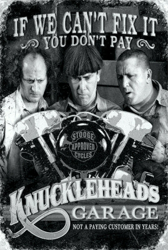 3 three stooges knuckle heads   Rustic Look  Tin Metal Sign  Man Cave  Quality Handmade