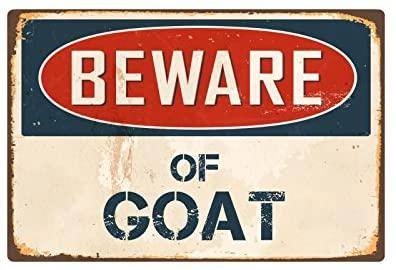 Beware Of Goat  Vintage Aluminum Retro Metal Sign