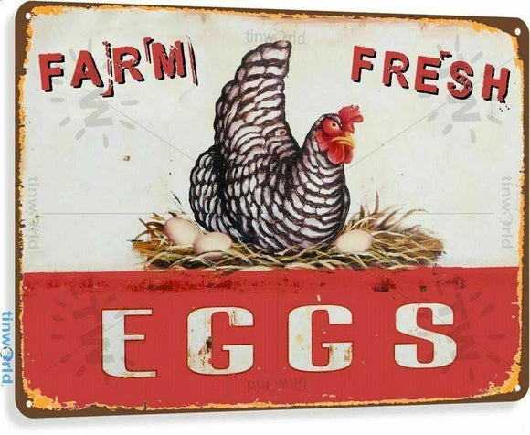 Farm Fresh Eggs Rustic Look Vintage Tin Metal Sign Man Cave, Shed-Garage & Bar