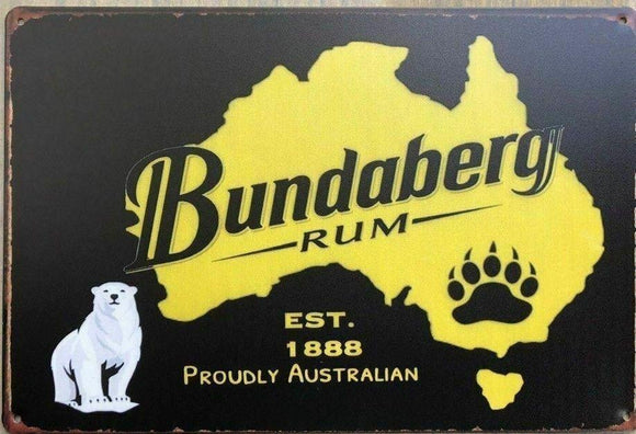 BUNDABERG RUM Rustic Look Vintage Tin Metal Sign Man Cave, Shed-Garage & Bar Sig