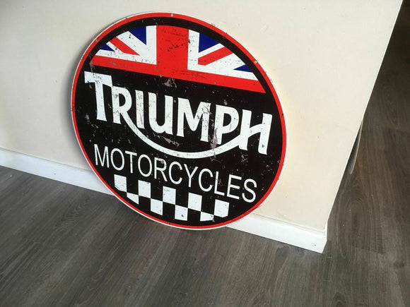 Triumph Motorcycle Metal  sign Man cave bar  Free postage Australia wide