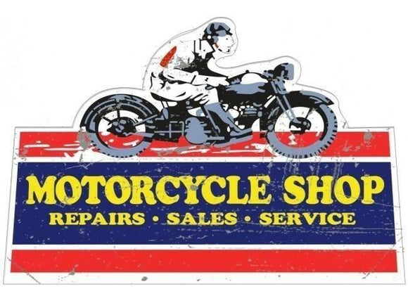MOTORCYCLE SHOP CUTOUT TIN METAL SIGN free postage