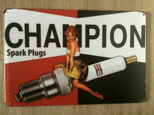 Champion Rustic Rustic Look Vintage Tin Metal Sign Man Cave, Shed-Garage & Bar