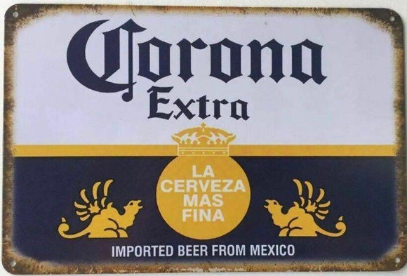 CORONA Extra Rustic Look Vintage Tin Metal Sign Man Cave, Shed-Garage & Bar Sign