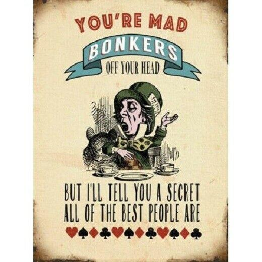Mad Bonkers  rustic  Look Vintage Tin Metal Sign Man Cave, Shed-Garage
