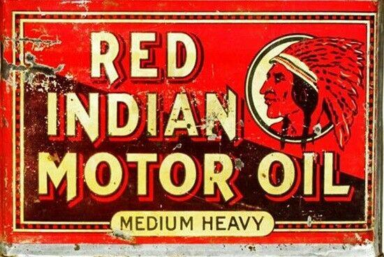 Red Indian   Oil  Rustic   Look Vintage Tin Metal Sign Man Cave, Shed-Garage
