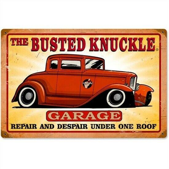 Busted Knuckle GARAGE Rustic Look Vintage Tin Metal Sign Man Cave Shed