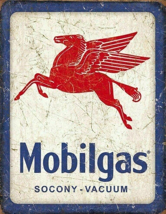 MOBILE GAS Vintage Rustic Retro Tin Metal Sign Man Cave, Shed & Bar