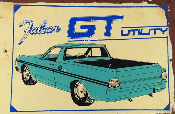 Falcon GT Utility metal sign 20 x 30 cm