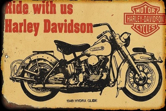 Ride with us Harley Davidson metal sign 20 x 30 cm free postage