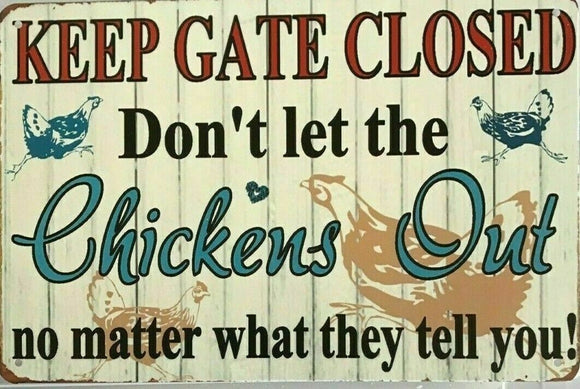 CHICKENS Rustic Look Vintage Tin Metal Sign Man Cave, Shed-Garage & Bar