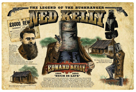 Ned Kelly Such is Life Rustic Look Vintage Metal Tin Sign MAN CAVE Shed Garage