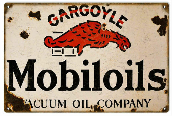Gargoyle Mobiloil Rustic   Look Vintage Tin Metal Sign Man Cave, Shed-Garage