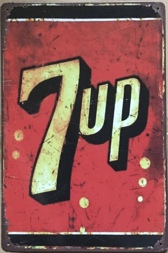 7UP Garage Rustic Vintage Metal Tin Signs Man Cave, Shed and Bar Sign