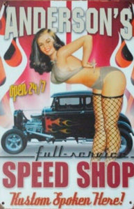 Andersons Speed Shop tin metal sign MAN CAVE brand new