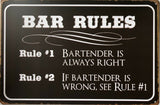 BAR RULES Man Cave Garage Rustic Vintage Metal Tin Signs Man Cave, Shed and Bar