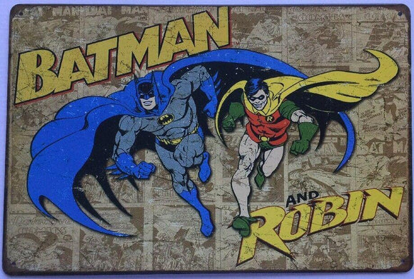 BATMAN and ROBIN Rustic Vintage Metal Tin Sign Man Cave, Garage, Shed and Bar AU