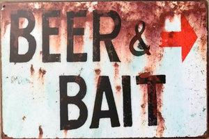 Beer and Bait tin metal sign MAN CAVE brand new