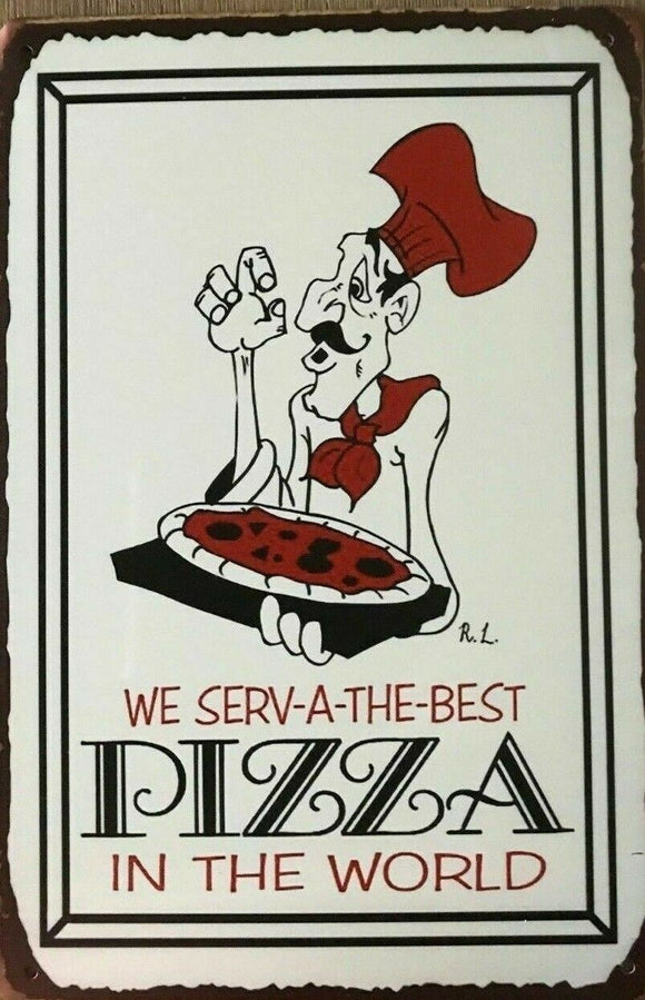 Best Pizza In The World Tin Metal Sign Man Cave New Garage