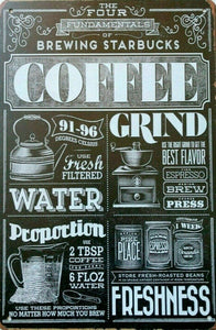 Brewing Starbucks Coffee tin metal sign MAN CAVE brand new