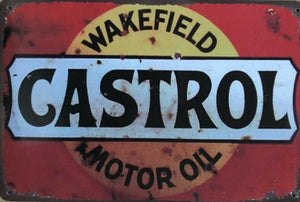 CASTROL WAKEFIELD Rustic Vintage Metal Tin Sign Man Cave, Garage,Shed and Bar