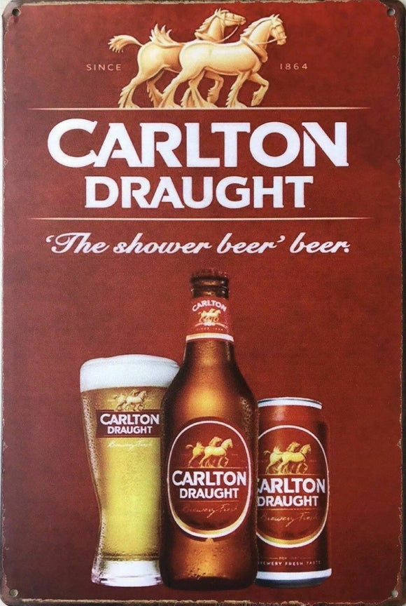 Carlton Draught The Shower Beer brand new tin metal sign MAN CAVE