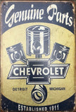 Chevrolet Garage Rustic Vintage Metal Tin Signs Man Cave, Shed and Bar Sign