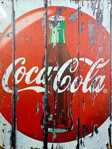 Coca Cola button bottle new tin metal sign MAN CAVE 40x30