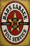DADS GARAGE Rustic Vintage Metal Tin Sign Man Cave Shed and Bar