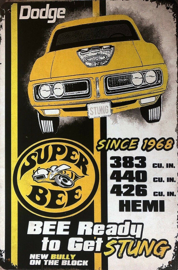 DODGE SUPER BEE Garage Rustic Vintage Metal Tin Signs Man Cave, Shed and Bar