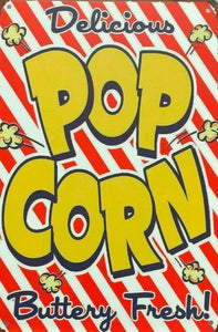 Delicious Popcorn tin metal sign MAN CAVE brand new