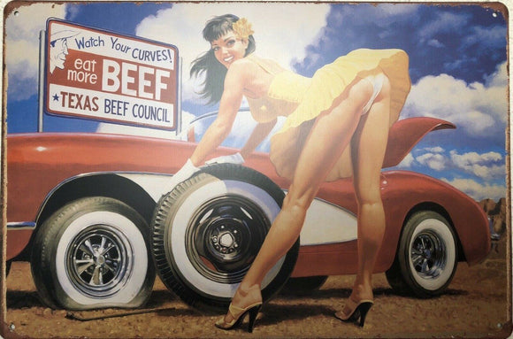 EAT MORE BEEF Pin Up Girl Garage Rustic Vintage Metal Tin Sign Man Cave,Shed Bar